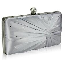 Satin Cystal Hardcase Clutch Evening Bag Silver Navy Nude Black Blue Ivory New