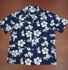 Vtg  Ui-Maikai Navy Hibiscus floral shirt made in Hawaii