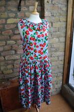 Drop waisted ruffle neck cherry print cotton summer vintage preppy dress UK 12