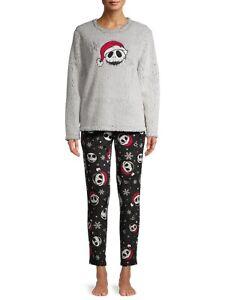 Nightmare before Christmas 2pc Womens Pajamas Set Disney Jack SANTA hat PJs top