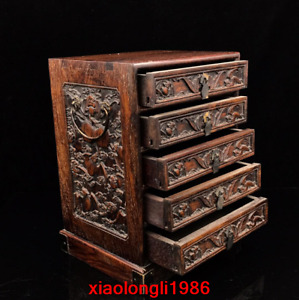 """11.68"""" China antique dynasty Rosewood carving Bat Shoutao pattern Drawer cabinet"""