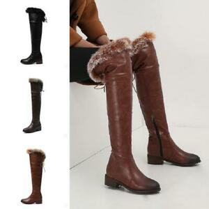 New Women Autumn Fur Trim Over Knee High Boots Riding Fashion Casual Shoes 34-48