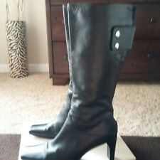 """Bebe"" Black Leather Mid Calf Square Toe Boots Size 8M"