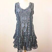 Hazel BOHO 3 tiered dress SZ M crochet accents slipover sleeveless dress