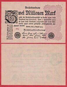 GERMANY 2 MILLIONEN MARK 1923 P104 REICHSBANK BANKNOTE UNC