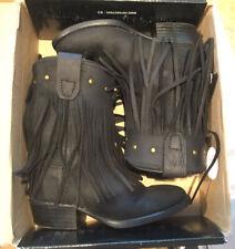 Old West BLK Toddler Girls Corona Leather Fringe Fashion Boots  7.5 NICE!