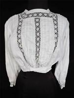 RARE FRENCH VICTORIAN-EDWARDIAN WHITE BROCADE COTTON AND LACE BLOUSE SIZE SMALL