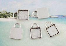 30PCS Tibetan silver flat square pedant blanks FC9060