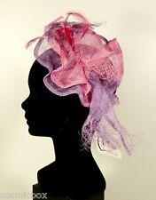 Chapeau de cérémonie femme pince RUE du BAG rose & violet made in France mariage