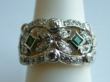 Great Diamond Ring w/ Emeralds14k-solid white Gold $3000