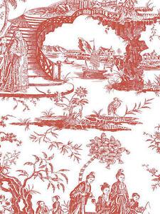 Oriental Scenic Toile in Red and Off-White Wallpaper - per Triple Roll  11141410