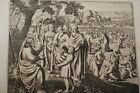 GRAVURE SUR CUIVRE MULTIPLICATION DES PAINS-BIBLE 1670 LEMAISTRE DE SACY (B202)