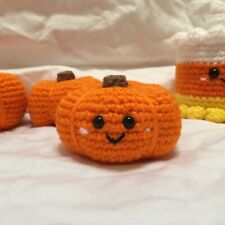 New Handmade Crochet Mini Pumpkin With Face Halloween Or Thanksgiving Decor