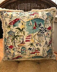 """NWOT Pottery Barn 18"""" Decorative Cover & Pillow Mediterranean Tropical Cotton"""