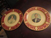 "Queen Elizabeth and Prince Phillip TIN COMMEMORATIVE PLATES 10"" [*TIN]"