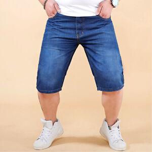 Herren Sommer Bequeme Jeans Shorts Kurze Hose Stretch Jeansshorts Bermuda W28-40