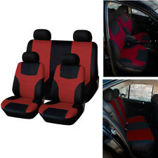 Universal RED Flat Cloth 5-Seat Car Soft Seat Cover Protector Cushion Breathable
