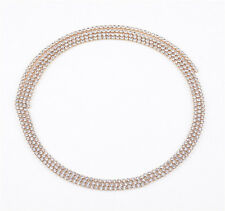 Women Bling Wrap Necklace Drop Rhinestone Crystal Long Chain Choker Jewelry Gift