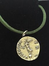"Denarius Of Galba Coin WC73 Fine English Pewter On a 18"" Green Cord Necklace"