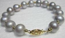NATURAL 9-10MM GENUINE ROUND SOUTH SEA GRAY PEARL BRACELET 14K YELLOW GOLDEN CLA
