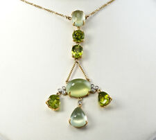 Diamond Peridot Chalcedony Necklace 18K Gold