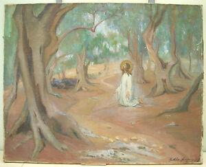"Mathilde Hautrive "" Jesus IN Mount Of X120veggicaps "" 1917 Christ Olive Paint"