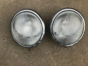 VW 50/60's Beetle Porsche 356 Hella  headlights 4/8 adjusters oval window