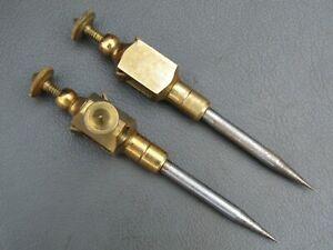 "Vintage pair brass & steel 5"" trammels trammel points old tools"