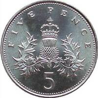 Royal Mint 1982 - 1990 Five Pence Uncirculated Coins - Various Years - 5p Coins