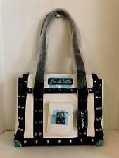 Lux De Ville Mini Weekender Bag Matte Winter White and Black Studded NEW