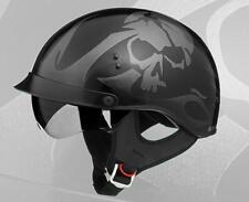 GMAX GM 55S Half Helmet Gloss SKULL black W/ Retractable inner sun lens (XS)