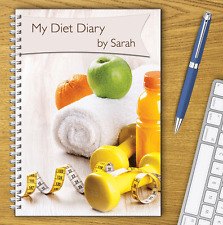 PERSONALISED A5 DIET DIARY, WEIGHT LOSS & FOOD TRACKER, DIETING, SLIMMING LOG 01