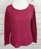 Ann Taylor Loft Top Womens Medium M Red Solid Lace Long Sleeve Sheer Blouse