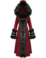 Devil Fashion Womens Long Gothic Lolita Hooded Winter Coat Red Black Faux Fur