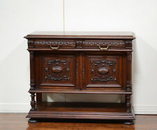 7503 : Antique French Renaissance Marble Top Console Sideboard Cabinet