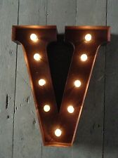 LED LIGHT CARNIVAL CIRCUS  RUST  METAL LETTER  V - WALL OR FREE STANDING 13INCH