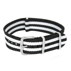 18/20/22mm Unisex Army Military Nylon Wrist Watch Band Strap Stainless Buckle