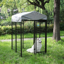 Pet House Dog Puppy Cage Outdoor W/ Waterproof Cover Shade Steel Wire 4x4x6 ft