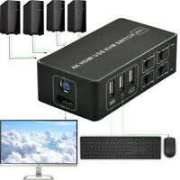 4K KVM Switch Switcher Sharer 4 Port USB HDMI Mouse & Keyboard Sharing High-Q