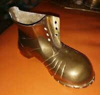 LARGE VINTAGE BRASS BOOT PAPER WEIGHT PLANTER DECORATIVE WITH LACE HOLES