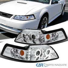 99-04 Ford Mustang Clear Dual Halo Projector Headlights Head Lamps Left+Right