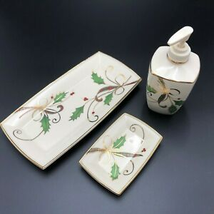 Lenox Holiday Nouveau Bath Set Soap Pump Tray Soap Dish Dimension Collection