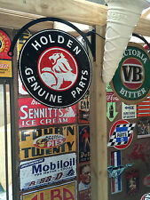 HOLDEN SALES & SERVICE TIN METAL SIGN WITH HANGER DBL SIDED  BAR HOT ROD