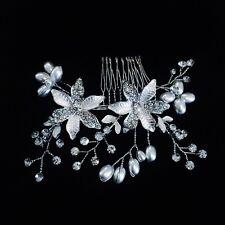 HAIR COMB Rhinestone Crystal Wedding Bridal Dancer French Twist Silver Pearl 04