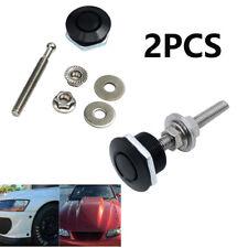 2 Pcs Push Button Quick Release Hood Bonnet Pins Lock Clip Car Bumper Latch Kit