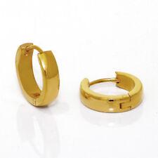 Titanium Klappcreolen Kreolen Ohrringe Titan vergoldet Damen Herren schmale groß