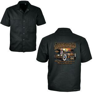 Hot Rod Hemd Worker Shirt Auto US-Car Kustom Rockabilly Vintage *1007 schwarz