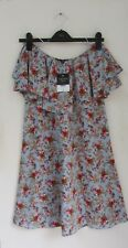 Topshop Tall Size 8 Bardot Blue Strapless Floral Dress Red Ditsy