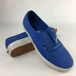 Vans Authentic Overwashed Nautical Blue/True White Men's Skate Shoes Size 11.5
