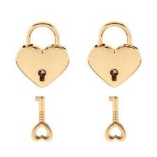 2X Heart Shaped Padlock Mini Lock w/ Key for Jewelry Box Storage Box Diary V5K6